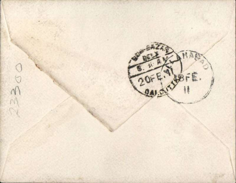 (India) INDIA - FIRST AERIAL POST - U. P. EXHIBITION: 1911 (18 Feb) envelope  franked 2a tied near fine strike of ?FIRST AERIAL POST/U. P. EXHIBITION ALLAHABAD? cachet in purple to Calcutta with Allahabad & Calcutta cds?s on rear. A scarce item, see back and fronts scans on website.