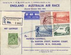 (GB External) MAC ROBERTSON AIR RACE COVER SIGNED BY CHARLES SCOTT & TOM CAMPBELL BLACK: 1934 (24 Oct.) commemorative England-Australia Mac Robertson Air race cover franked GB ½d plus four assorted Australian adhesives addressed to Patrick Campbell, Baron's Court, London, signed on reverse by the two pilots. Fine & Scarce. See front and back scans.