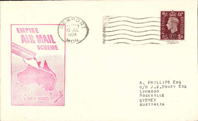 (GB External) Imperial Airways F/F Third Stage EAMS England to Australia, London to Sydney, no arrival ds, plain cover with large red flight cachet commemorating the First Empire C Class Flying Boat Service/England to Australia.