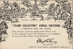 (GB Internal) Stamp Collecting Aerial souvenir card (facsimile of Mulready envelope) flown by Hugh Vallency from Marquise to Lympne, verso APO S.20 (France) dispatch cds and violet '7029' censor cachet. Scarce, Newall 18.07.