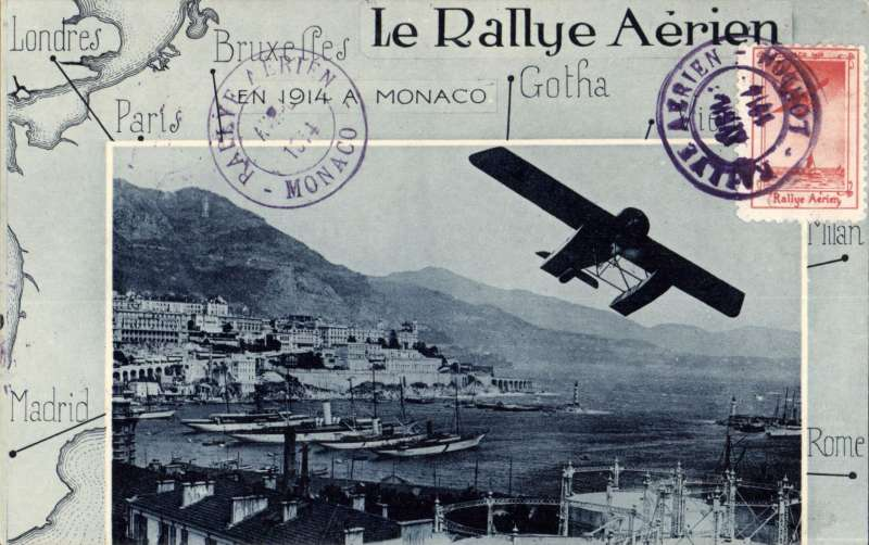 (Monaco) International Sporting Club of Monaco Aerial Rally, special souvenir PPC with special stamp canc Raillye Aerien Monaco.  A scarce and attractive item.