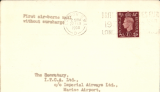 """(GB External) F/F Second Stage EAMS, F/F London to Cairo, bs 25/2, test cover addressed to The Secretary, ITCA Ltd, Imperial Airways Ltd, Marine Airport, Ras el Tin,  franked 1 1/2d, typed """"First air-borne mail/without surcharge'."""