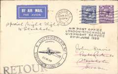 """(GB External) Return of First Trial Night Air Mail Flight, London to Stockholm, bs 21/6, etiquette cover franked 5 1/2d, canc London cds, large black circular """"plane"""" cachet, ms 'Special Night Flight ot Stockholm'."""
