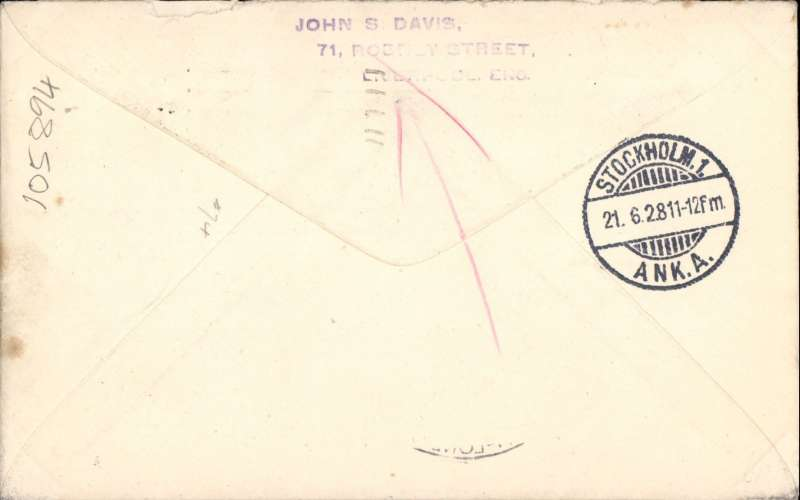 "(GB External) Return of First Trial Night Air Mail Flight, London to Stockholm, bs 21/6, etiquette cover franked 5 1/2d, canc London cds, large black circular ""plane"" cachet, ms 'Special Night Flight ot Stockholm'."