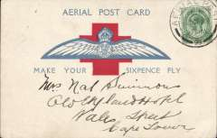 """(South Africa) First fight Red Cross Aerial Post, large 3 1/2"""" wings first Cape flight  """"Make Your Sixpence Fly"""" souvenir PC, franked KGV 1/2d canc special 'Aerial Post' datestamp """"AERIAL POST/7 Oct 18/SOUTH / AFRICA"""" cds. The stamp has a scuffed lower lh corner, and the top lh corner of the card has a minor bend. See image."""