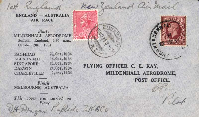 "(GB External) MacRobertson Air Race, England-Australia-New Zealand, Mildenhall depart cds, Palmerston North 15/11 arrival cds on front tying 1d New Zealand stamp, official black/grey printed cover carried by Hewitt, Kay and Stewart in Dragon Rapide ""Tanui"" ZK-ACO, signed by CE Kay."