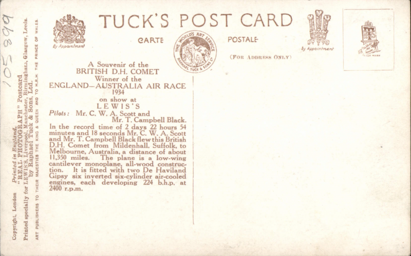 (Ephemera) England-Australia Air Race, souvenir winner D.H.Comet, original unused Tuck's PPC showing plane on ground and head and shoulders of Scott and Campbell Black with facsimile signatures. Difficult to find.