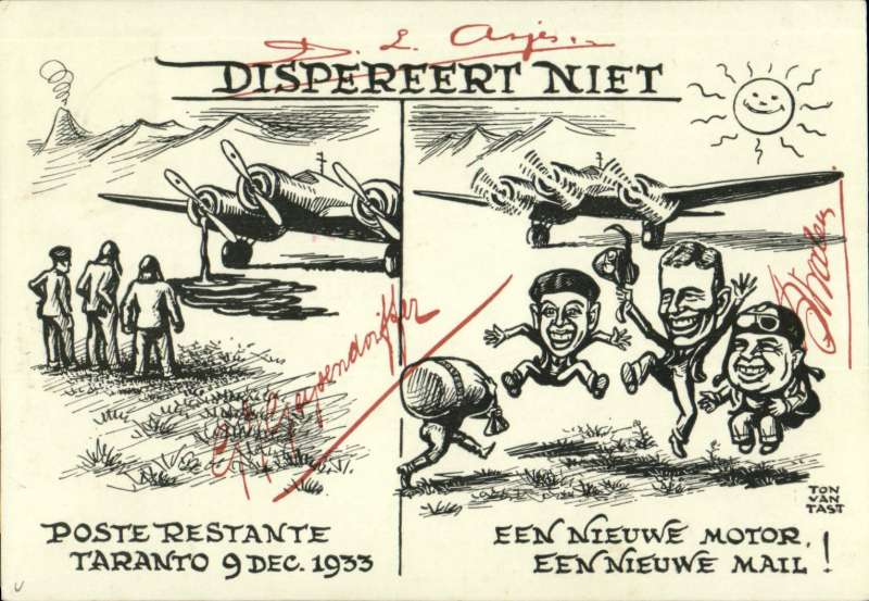 (Netherlands) Pander 'Postjaeger mail-only test flight between Netherlands and NEI, souvenir card sent from the Pander company, Lekkerderk, in Holland, 22/12/33, carrying facsimile signatures of the crew.