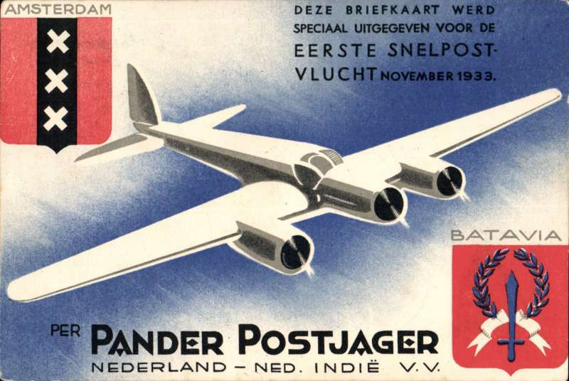 (Netherlands East Indies) KLM Postjager interrupted flight Amsterdam-Batavia (Postajgaer/Pelikaan), and return Batavia-Amsterdam (Postjager), bs 11/1/34, red/white blue souvenir Postjager PPC, franked special 30c x2 for outward and return journeys, official red flight cachet, cancelled Gravenhage 8/12,  Mail transferred to Pelikann in Italy on outward journey, and carried by repaired Postjager on return.