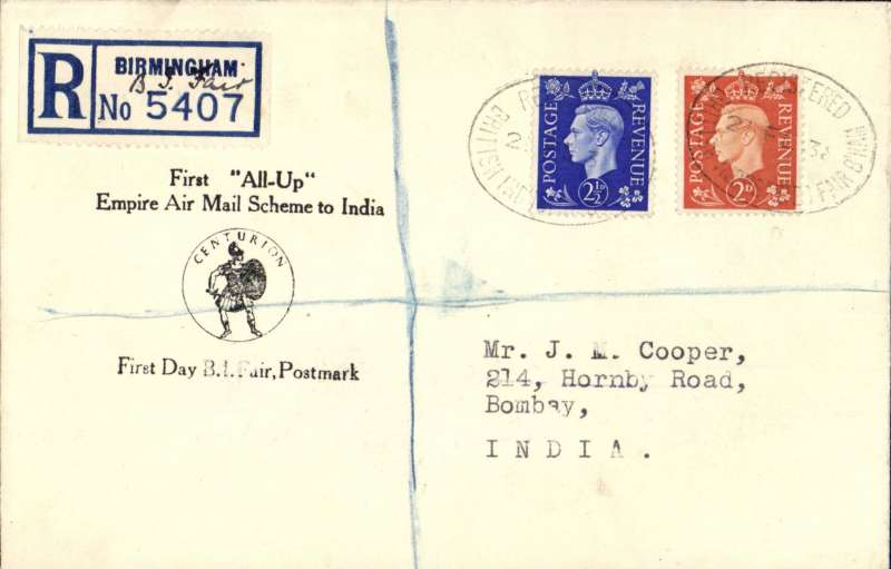 """(GB External) F/F second stage of the Empire Airmail Service, England to Bombay, bs 1/3, and on to Rangoon bs 7/3, registered  cover posted from the British Industries Fair, franked 4 1/2d to include registration fee of 3d, """" First 'All Up'/Empire Air Mail Scheme to India"""". Nice item - scarce."""