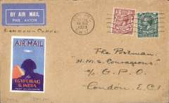 """(GB External) Special mail to HM Ships off Corfu, airmail cover to H.M.S. Royal Sovereign, special """"Royal Sovereign"""" receiver verso, also on board PO """"Oct 29, 29"""" receiver, franked 5 1/2d cancelled Tooting cds and wavy line cancel, ms """"London-Corfu"""", tan etiquette cover, Francis Field authentication hs verso."""