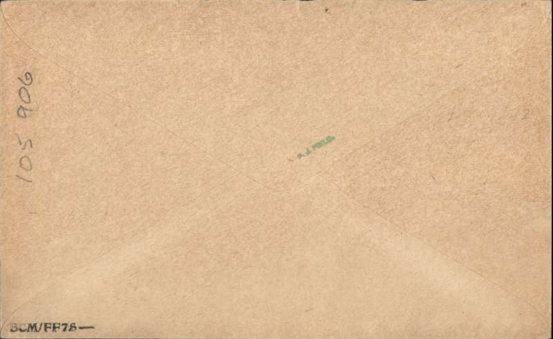 "(GB External) Special mail to HM Ships off Corfu, airmail cover to H.M.S. Royal Sovereign, special ""Royal Sovereign"" receiver verso, also on board PO ""Oct 29, 29"" receiver, franked 5 1/2d cancelled Tooting cds and wavy line cancel, ms ""London-Corfu"", tan etiquette cover, Francis Field authentication hs verso."