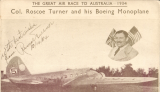 (GB External) Mac Robertson Race, London to Melbourne, showing head and shoulders of Col. Roscoe Turner and his Boeing Monoplane, uncommon sepia commemorative with dates of key stages of the flight, also facsimile signature of Roscoe Turner. Nice item.