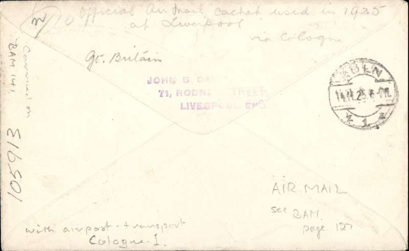(GB External) London-Hanover-Berlin service, Liverpool to Cologne, bs 14/11, plain cover franked 3 1/2d (air fee to Occupied Areas was only 2d via London-Cologne) canc Liverpool cds, ms 'London-Cologne', etiquette tied by black 'Air Mail' hs. Bears scarce red two line 'Mit Luftpost Befordert/Koln 1' used only on mail dispatched from Liverpool, and only during 1925.  See #141, British Airmails, Baldwin.