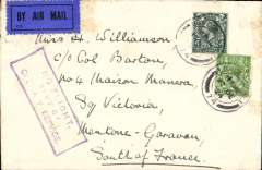 (GB External) Early Imperial AW European flight, London to Paris, bs Mentone Garavau, plain cover franked 4 1/2d (2d air fee). Bad weather stopped flight so sent by surface, fine strike violet boxed 'No Flight/Sent by/Ordinary Service', illustrated p663 Proud. Also officially recorded as a 'no service day', Proud p256.