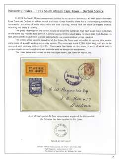 (South Africa) First Govt. Cape Town-Durban Experimental Airmail Service, Cape Town to Durban, plain cover franked 2d with additional 3d special airmail stamp, canc Somerset West/28 Feb cds, also blue/black 'S.A.Air Mail/S.A.Lugpos' cds. Service terminated on June 15th. Mounted on album leaf with full text write up.