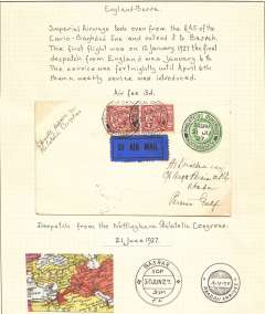 """(GB External) Scarce dispatch from Nottingham Philatelic Congress to Abadan b/s, via Basra 30 Jun 27 cds, acceptance of UK mail for the recently opened Basra extension of the Cairo-Baghdad service, 1/2d PSE with additional 1 1/2d x2, canc fine strike special Congress cancellation, endorsed ms """"Special despatch from/Philatelic Congress'. Mounted on album leaf with small coloured map of the Cairo-Baghdad leg."""