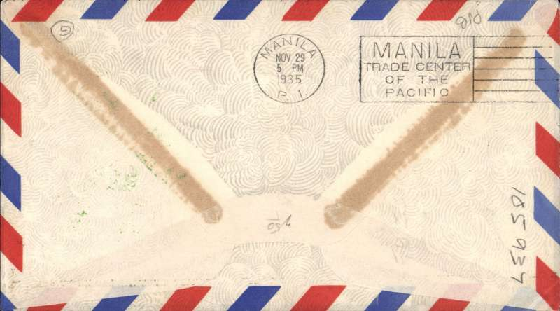 (Guam) FAM 14 Trans-Pacific service, F/F, Guam to Manila, airmail cover franked 25c air, green cachet, b/s 29/11, Pan Am.