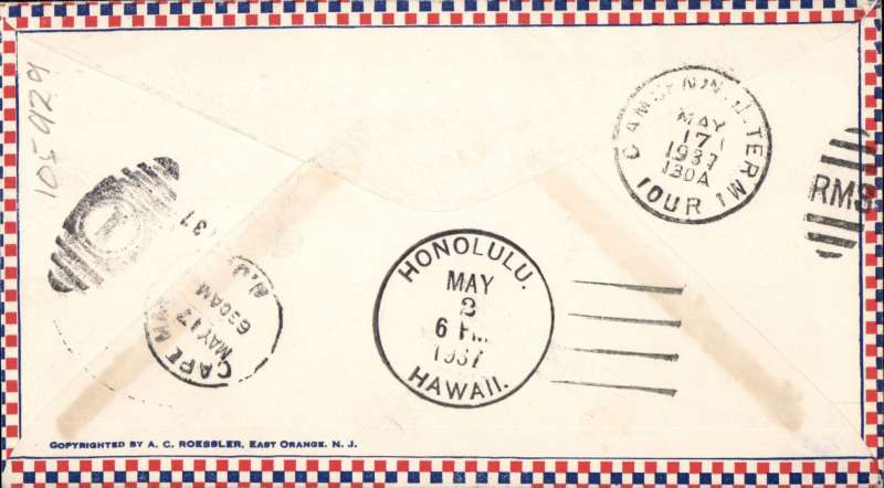 (Philippines) FIRST AIRMAIL/UNITED STATES/CHINA, Pacific Clipper Flight, F/F FAM 14, Hong Kong Clipper, Manila to Honolulu, b/s, Pan Am. Uncommon Roessler check border cover with cover with green 'Special Dcelivery' cachet.