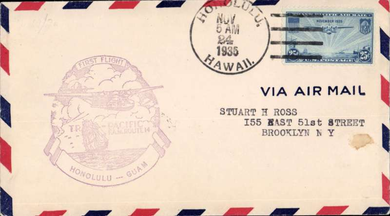 (Hawaii) Pan Am pioneer Trans-Pacific service FAM 14 F/F Honolulu to Guam, bs 27/11, official violet flight cachet.