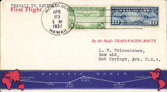 (Hawaii) Trans Pacific 'China Clipper', Pan Am F/F FAM 14 flown at new reducd 30c rate, Honolulu to Manila, cachet, b/s.