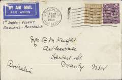 (GB External) London to Sydney, bs 21/12,  flown on First Regular Weekly Service England to Australia, plain etiquette cover, Imperial Airways/Qantas.