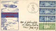 (United States) Trans Pacific 'China Clipper', Pan Am F/F FAM 14 flown at new reducd 50c rate, San Francisco to Manila, cachet, b/s, unlisted.