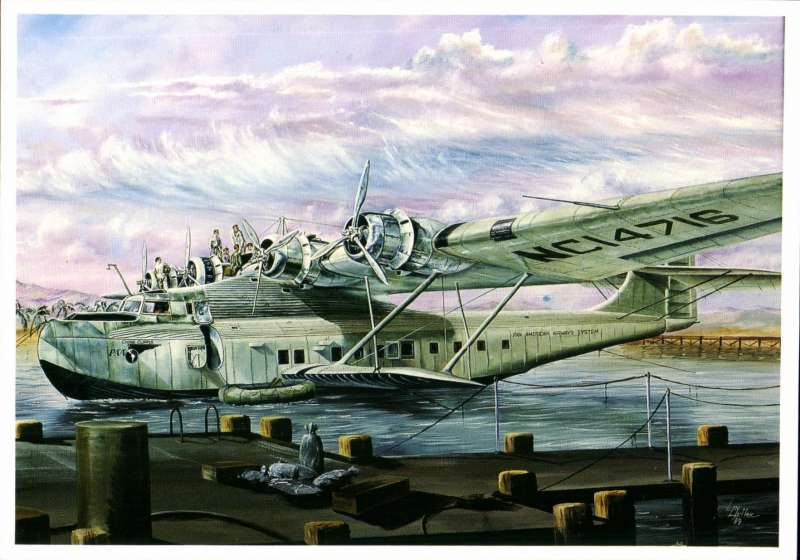 (Ephemera) China Clipper At Rest In Honolulu Waters), repro PPC of beautiful detailed painting  by Len Hutton, 1989.