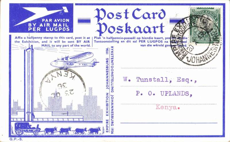 (South Africa) Empire Exhibition PPC with photo of 'Amalthea' verso, carried form Jo'burg to Nairobi, 23/10 arrival ds on front, special card  addressed to Tunstall,  franked  1/2d canc fine strike Exhibition post mark.
