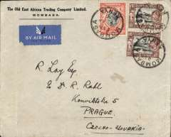 (Scarce and Unusual Routings) Tanganyika to Czechoslovakia, MOMBASA TO PRAGUE. By rail (c350 miles) to Nairobi, transferred to Imperial Airways northbound AN 331 which left  on 6/4 on Helena, transferred to Scipio at Alex 10/4, off loaded at Athens on 10/4, and on by rail/air to destination arriving Prague bs 13/4. Plain cover,  franked 150c. Non invasive closed tear verso, see scan.