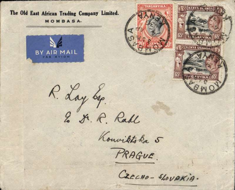 (Scarce/Unusual Routing) Tanganyika to Czechoslovakia, MOMBASA TO PRAGUE. By rail (c350 miles) to Nairobi, transferred to Imperial Airways northbound AN 331 which left  on 6/4 on Helena, transferred to Scipio at Alex 10/4, off loaded at Athens on 10/4, and on by rail/air to destination arriving Prague bs 13/4. Plain cover,  franked 150c. Non invasive closed tear verso, see scan.