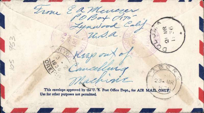 (United States) USA to Kenya, Linwood, CA to Tabora, bs 23/3. via Dodoma 21/3, registered (hs) airmail envelope franked 27c to cover carriage by airmail to New York, then by sea and overland to Tabora.  Faint ironed vertical crease, see scan.