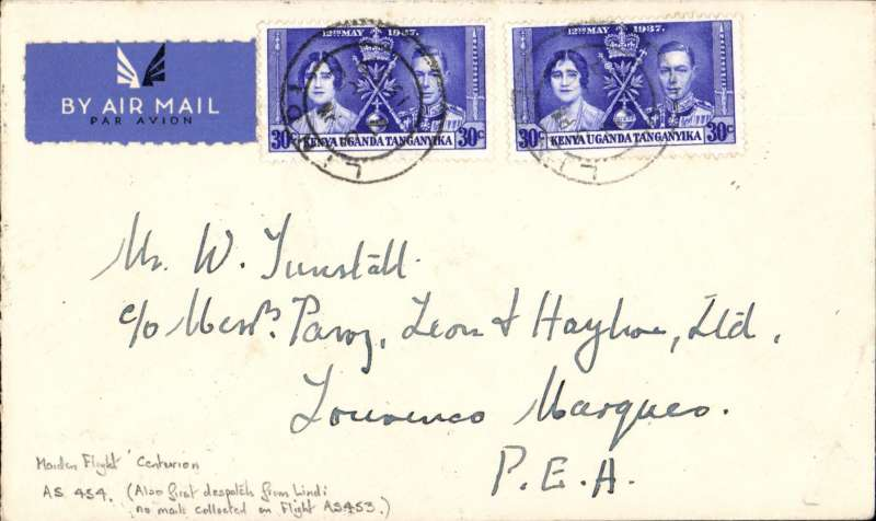 (Kenya) Southbound all flying boat service AS 454, via coastal route, FIRST DISPATCH FROM LINDI (no mail collected at Lindi on F/F AS 453). Lindi to Lourenco Marques, bs 12/6, via Dar es Salaam 6/6, Tunstall cover franked 60c, Imperial Airways.  Also the maiden service flight by 'Centurion'.