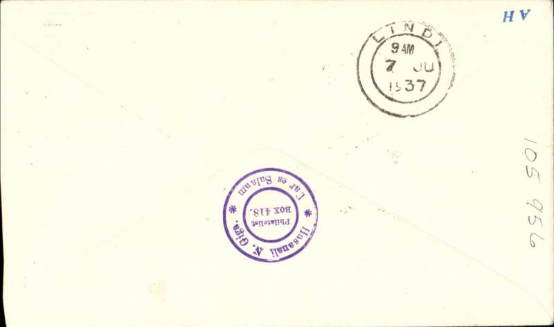 """(Kenya) First Stage southbound all-flying boat service  AS 453 via coastal route, Dar es Salaam to Lindi, bs 4/7, attractive Coronation souvenir cover with additional printed """"First Experimental Flight/Per Empire Flying Boat/Canopus/Southampton/Durban', franked 55c. I"""