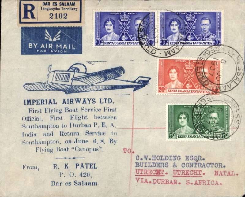 """(Kenya) Dar es Salaam to Utrecht (Natal) bs 10/6, by Imperial AW southbound service AS 453, via Durban, attractive blue/grey registered souvenir cover franked 85c, printed 'First Flying Boat Service/ First Flight Southampton to  Durban PEA, ............By Flying Boat 'Canopus'"""". Imperial Airways."""