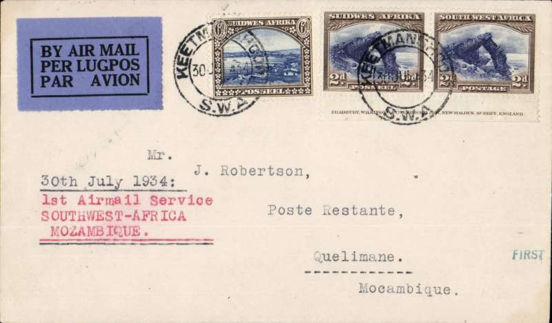 (Northern Rhodesia) F/F, South West Africa to Mozambique, KEETMANSHOOP TO QUELIMANE, bs 2/8, SWAAW to Kimberley, IMPERIAL AIRWAYS AFRICA NORTHBOUND SERVICE AS178 on 'Amalthea' to Broken Hill, then French feeder service, Service de la Navigation Aerienne de Madagascar to Quelimane, typed '1st Airmail Service/Southwest Africa/Mozambique', Imperial Airways winged logo cover, franked 10d, flown by Assolant, FLIGHT INTERRUPTED BY ACCIDENT between Broken Hill and Tete. Scarce.