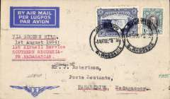 """(Southern Rhodesia) F/F, Bulawayo to Tananarive, MADAGASCAR, bs 4/8, French feeder service, Service de la Navigation Aerienne de Madagascar, typed endorsement """"Via Broken Hill/1st August 1934/ 1st Airmail Service/Southern Rhodesia-French Madagascar"""", Imperial Airways winged logo cover, franked 1/3d, flown by Assolant, FLIGHT INTERRUPTED BY ACCIDENT between Broken Hill and Tete. Scarce."""