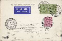 (Scarce and Unusual Routings) First dispatch of mail for carriage on the LeFevre and Assolant new feeder service to Madagascar. LONDON TO MAJUNGA (MADAGASCAR), bs Tananarive, bs 4/8, plain cover franked 9d x2 + 6d, canc London FS/Airmail cds, typed 'By Air From Broken Hill'. Departed Corydon 11/7, carried by Imperial Airways AFRICA southbound service AS 176 by Heracles to Brindisi, by Satyrus to Khartoum 15/7, by Horsa to Juba 16/7, and by Atlanta to Broken Hill 19/7 and planned OAT on first Broken Hill-Tananarive flight by Service Aerienne de Madagascar which actually departed 29/7 arriving Tananarive bs 4/8.  Due to premature announcement by IAW and British PO, the mail had to wait for two weeks at Broken Hill, see Wingent p60. Scarce item - good for the exhibit - combining an adventurous first flight and a significant well documented delay. Bottom of card shows slight traces of over inking from bs of adjacent mail.