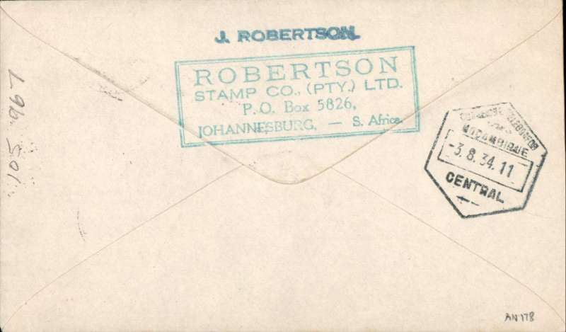 """(Northern Rhodesia) F/F, Broken Hill to Mozambique, bs 3/8, French feeder service, Service de la Navigation Aerienne de Madagascar, typed endorsement """"Via Broken Hill Air Mail 2/8/34"""" Imperial Airways winged logo cover, franked 1/3d, flown by Assolant, FLIGHT INTERRUPTED BY ACCIDENT between Broken Hill and Tete. Scarce."""