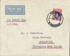 """(Southern Rhodesia) F/F, BULAWAYO TO MOZAMBIQUE, bs 3/8, French feeder service, Service de la Navigation Aerienne de Madagascar, typed endorsement """"Via Broken Hill/2.8.1934"""", airmail etiquette cover, franked 10d, flown by Assolant, FLIGHT INTERRUPTED BY ACCIDENT between Broken Hill and Tete. Scarce."""