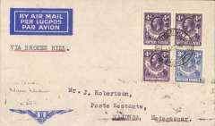"""(Northern Rhodesia) F/F, Broken Hill to Majunga, MADAGASCAR, bs 4/8, French feeder service, Service de la Navigation Aerienne de Madagascar, typed endorsement """"Via Broken Hill """" Imperial Airways winged logo cover, franked 1/3d, flown by Assolant, FLIGHT INTERRUPTED BY ACCIDENT between Broken Hill and Tete. Scarce."""