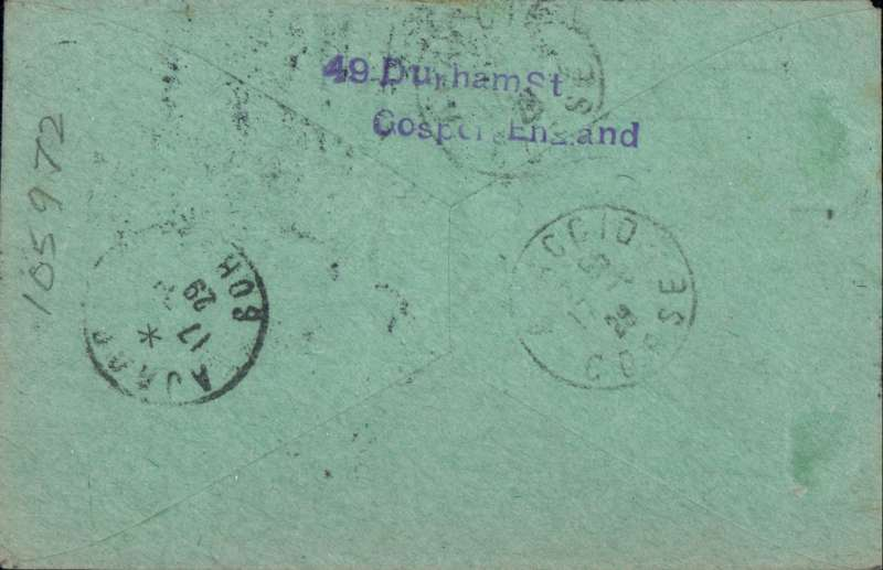 (Ireland) IRELAND TO CORSICA, French Air Union's first acceptance of British mail for the direct London-Marseilles-Ajaccio service , bs 17/5. The special airmail rate for mail flown on this service to the South of  France, departments of Bouche du Rhone, Var and Alpes Martimes was 3d per 1/2oz.  For other parts of France, including this rare cover to Corsica, the special rate was 4d per 1.2 oz. Grey green cover prepared by Smye, franked 4d + 1/2d, canc Baile Atha Cliath 14 MY 29. See Newall #29.07b. Scarce item in fine condition.