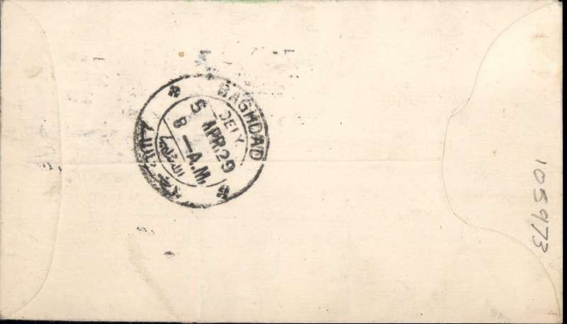 (Ireland) IRISH ACCEPTANCE for the first LONDON-BAGHDAD leg of the inaugural IAW service to India, Irish 1/2d PSC, prepared by Smye with additional 3d and 1 1/2d stamps, canc Baile Atha Cliath 27 MR 1929, and bs Baghdad 5 APR 29. Rare item in fine condition.