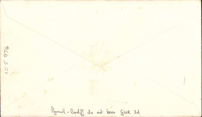 """(GB Internal) Great Western Railway, first airway letter, Plymouth to Cardiff, franked 1 1/2d, canc 'Cardiff/ 1.15pm/12 Apr/1933' cds with slogan """"The Telephone Saves Time/Money"""" (Redgrove 's type A7, see p11), purple double line oval cachet """"Parcels Department/GWR Plymouth (North Road)/12 April 1933"""" applied at Plymouth only.  At  Plymouth 3d copies of the prepaid newspaper parcel label were not available (Redgrove P10)."""