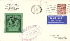 """(GB Internal) GWR Unofficial Airmail, Newport to Teignmouth, black/green prepaid newspaper parcel stamp cancelled purple double line oval cachet """"Parcels Department/Newport High Street, GW/12 April 1933"""", POA Teignmouth 12.30pm/12 Apr/1933 cds . Redgrave's type A5, see p10, Great Western Air Service."""