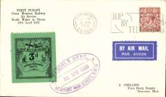 """(GB Internal) GWR Unofficial Airmail, Newport to Torquay, black/green prepaid newspaper parcel stamp cancelled purple double line oval cachet """"Parcels Department/Newport High Street, GW/12 April 1933"""", POA Torquay 12.30pm/12 Apr/1933 cds . Redgrave's type A3, see p10, Great Western Air Service."""