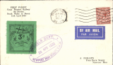 "(GB Internal) GWR Unofficial Airmail, Newport -Teignmouth, black/green prepaid newspaper parcel stamp cancelled purple double line square cachet """"Parcels Department/Newport High Street, GW/12 April 1933"", POA Teignmouth 12.15pm/12 Apr/1933 cds. Redgrove's type A5, see p10, Great Western Air Service."