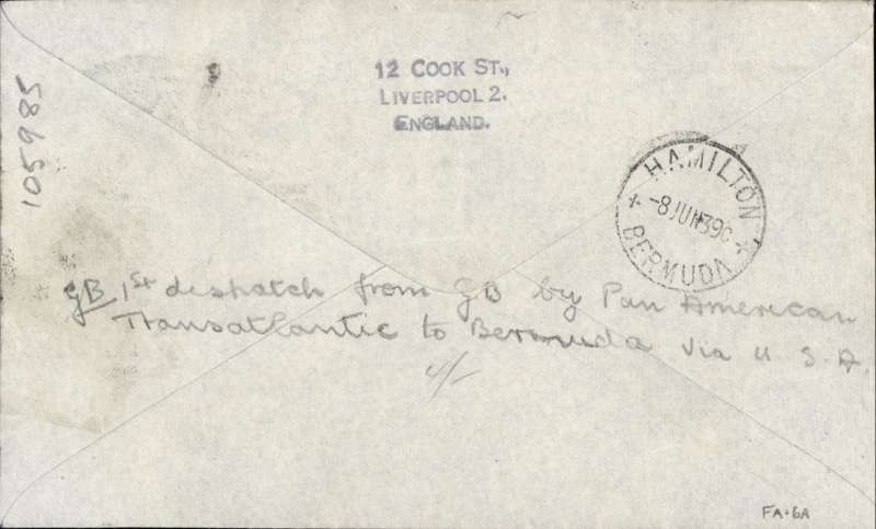 """(GB External) Rare acceptance from Great Britain for Bermuda, bs Hamilton 8 Jun 39, for carriage on F/F Pan Am Southern Route, airmail etiquette under franked cover with KGVI 1/3d, canc Liverpool cds, black four line """"Pan American Airways/First Transatlantic Airmail/Southern Route/via Bermuda, Azores and Portugal"""", and black two line """"First Official Airmail/Despatch from Gt. Britain"""". Cover was returned to sender in Liverpool where GB 1/- postage due stamp was applied, canc by Liverpool cds, and black """"1/-"""" hs. Only a few covers were prepared addressed to Bermuda, see Clark W.J.,#39.1."""