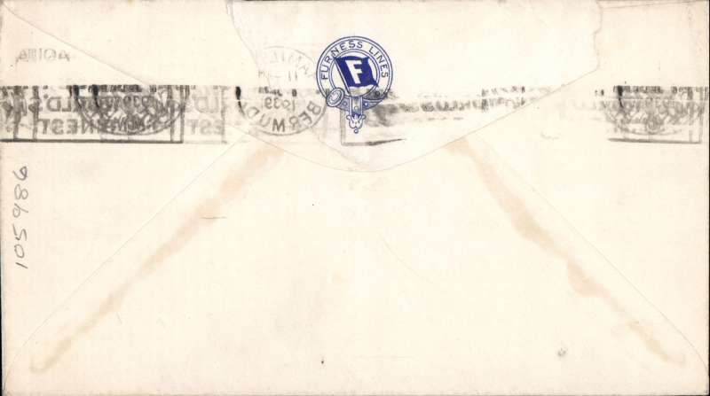 (Bermuda) Printed 'Furness Lines/Monarch of Bermuda' corner cover with company logo on flap, franked 9d, Hamilton to New Jersey, airmail etiquette tied by postmark. Known as the Millionaires Ship operating luxury cruises between North America and Bermuda. Had 830 first class and 30 second class berths!; operated during the 1930'3 and survived the Depression; was converted into a troop ship in 1939 and survived the war.