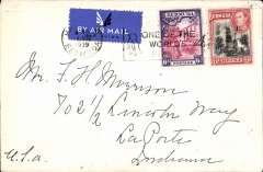 (Bermuda) Hamilton to La Porte, Indiana, Canadian National Steamships cover, franked 9d, airmail etiquette tied by postmark. Canadian National Steamship Company was owned by Canadian National Railway Co. and operated services between Montreal / Halifax and the West Indies. A popular route was Halifax-Boston-Bermuda-Nassau-Kingston.